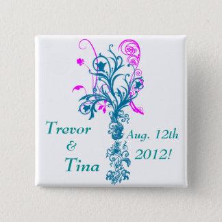 Save The Date Flourishing Dreams Square Pin