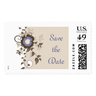 Save the Date Flower Postage Stamp