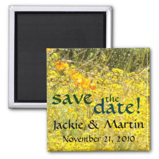 Save the Date Flowers Floral Garden Wedding Magnet