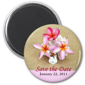 Save the Date Flowers on Beach Magnet