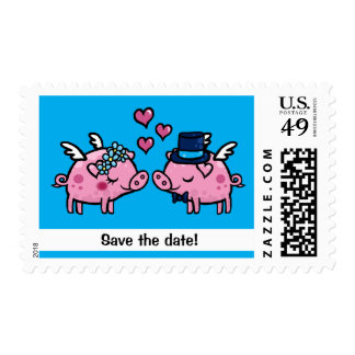 Save the date flying Pigs Postage Stamp