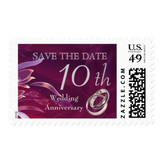 Save the Date for 10th  Wedding Anniversary Stamps
