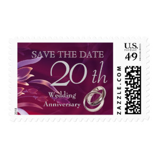 Save the Date for 20th  Wedding Anniversary Stamps