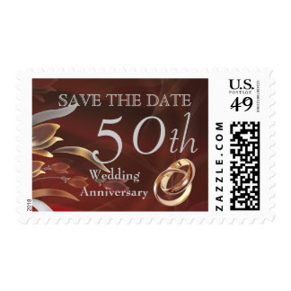 Save the Date for 50th  Wedding Anniversary Stamps