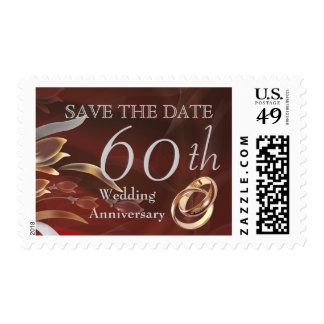 Save the Date for 60th  Wedding Anniversary Stamps Stamps