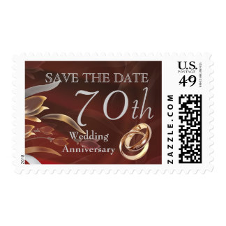 Save the Date for 70th  Wedding Anniversary Stamps Stamps
