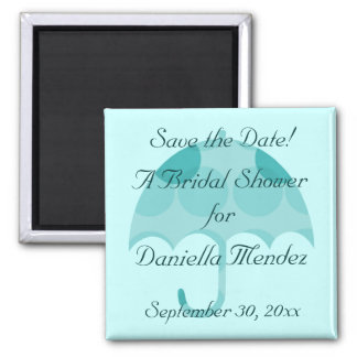 """Save the Date for __"" -  Dotted Umbrella 2 Inch Square Magnet"
