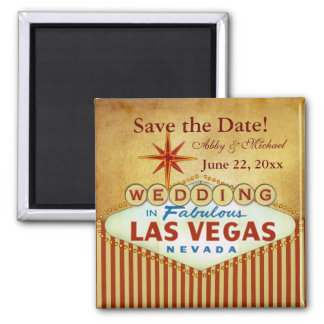 Save the Date for Fabulous Las Vegas 2 Inch Square Magnet