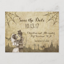 Save the Date for Halloween Wedding with Skeletons Announcement Postcard