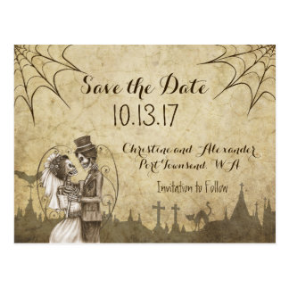 Save the Date for Halloween Wedding with Skeletons Postcard