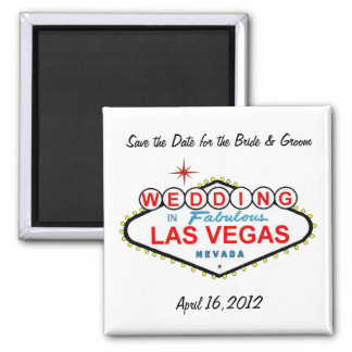 Save the Date for the Bride & Groom Las Vegas Wedd 2 Inch Square Magnet