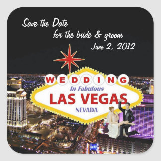 Save the Date for the bride & groom Wedding In Las Square Sticker