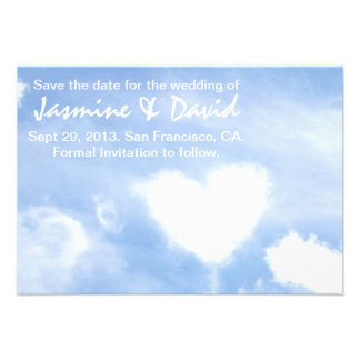 Save the Date for the Wedding - Heart Shaped Cloud Personalized Invitation