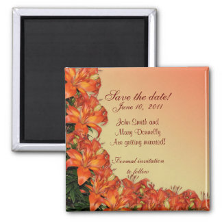 Save the date for wedding exotic flowers magnet