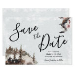 Save the Date for Wedding with Raven and Moon Invitation
