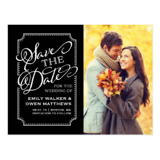 Save the Date | Forever Frame Black Postcard