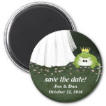 Save the Date Frog Prince Wedding Customizable 2 Inch Round Magnet
