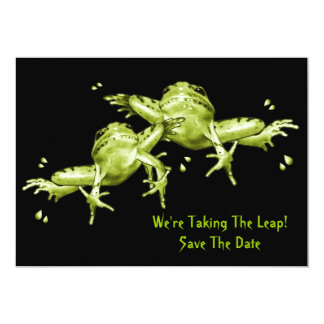 Save The Date: Frogs: Taking The Leap 5x7 Paper Invitation Card