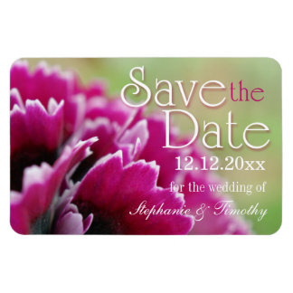 Save the Date fuchsia flower photography magnet