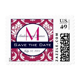 Save the Date Fuchsia Navy Damask Wedding Stamp
