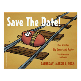 Save the Date Funny Date on Tracks Invitation