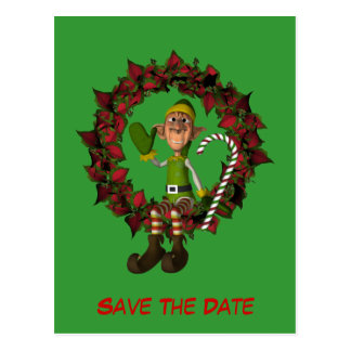 Save The Date Funny Elf On Wreath Holiday Postcard