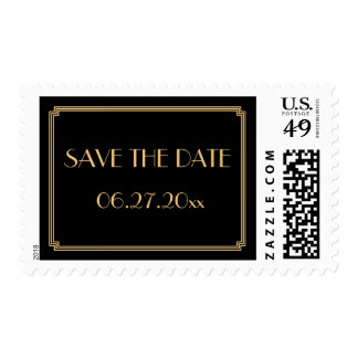 Save The Date Gatsby Art Deco Black Wedding Stamps