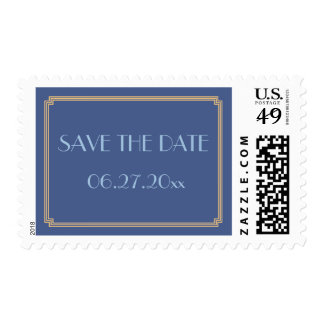 Save The Date Gatsby Art Deco Blue Wedding Stamps