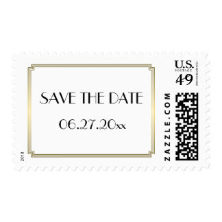 Save The Date Gatsby Art Deco Gold Wedding Stamps