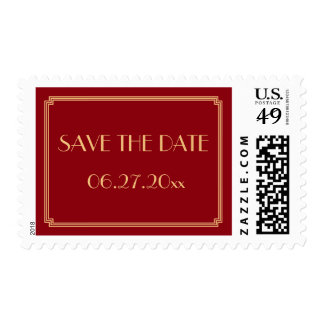 Save The Date Gatsby Art Deco Red Wedding Stamps