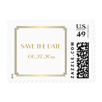 Save The Date Gatsby Art Deco White Wedding Stamps