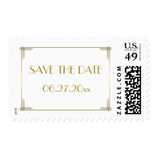 Save The Date Gatsby Gold Art Deco Wedding Stamps