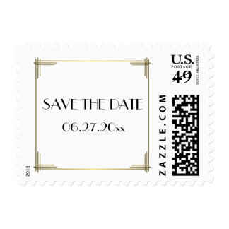 Save The Date Gatsby White Art Deco Wedding Stamps