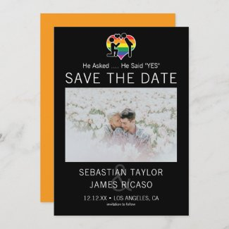 Save The Date Gay He Said Yes Personalized Photo Announcement