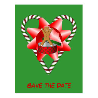 Save The Date Gingerbread Cookie Man Holiday Postcard