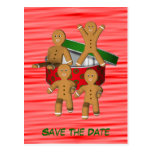 Save The Date Gingerbread Men Holiday Postcard