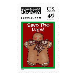 Save the Date Gingerbread Postage by SRF