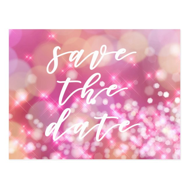 Save the date | Glamorous Pink Sparkles Postcard