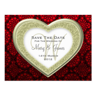 Save The Date Glitter Heart Gold Mod Lace Red Postcard