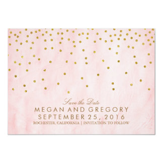 Save the Date Gold and Pink Glitter Card