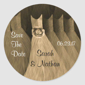 Save the Date - GOLD CHAMPAGNE Bridesmaid Dresses Classic Round Sticker
