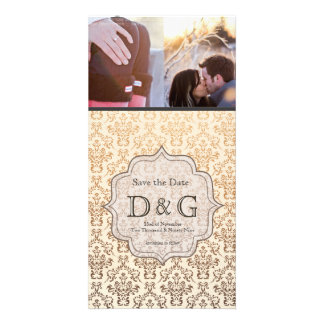 Save the Date Gold Champagne Damask Fillagree Card Personalized Photo Card