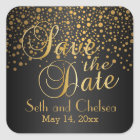 Save the Date Gold Dots and Black   Personalize Square Sticker