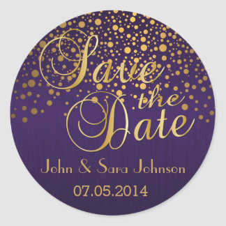 Save the Date | Gold Dots and Purple | Personalize Classic Round Sticker