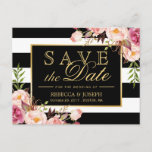 """Save the Date - Gold Floral Black &amp; White Stripes Announcement Postcard<br><div class=""""desc"""">Save the Date - Gold Floral Black &amp; White Stripes Postcard (1) For further customization,  please click the &quot;customize further&quot; link and use our design tool to modify this template.   (2) If you need help or matching items,  please contact me.</div>"""