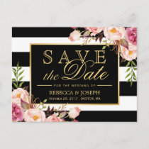 Save the Date - Gold Floral Black & White Stripes Announcement Postcard