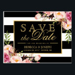 "Save the Date - Gold Floral Black &amp; White Stripes Postcard<br><div class=""desc"">Save the Date - Gold Floral Black &amp; White Stripes Postcard (1) For further customization,  please click the &quot;customize further&quot; link and use our design tool to modify this template.   (2) If you need help or matching items,  please contact me.</div>"