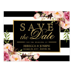 Save The Date - Gold Floral Black & White Stripes Postcard at Zazzle