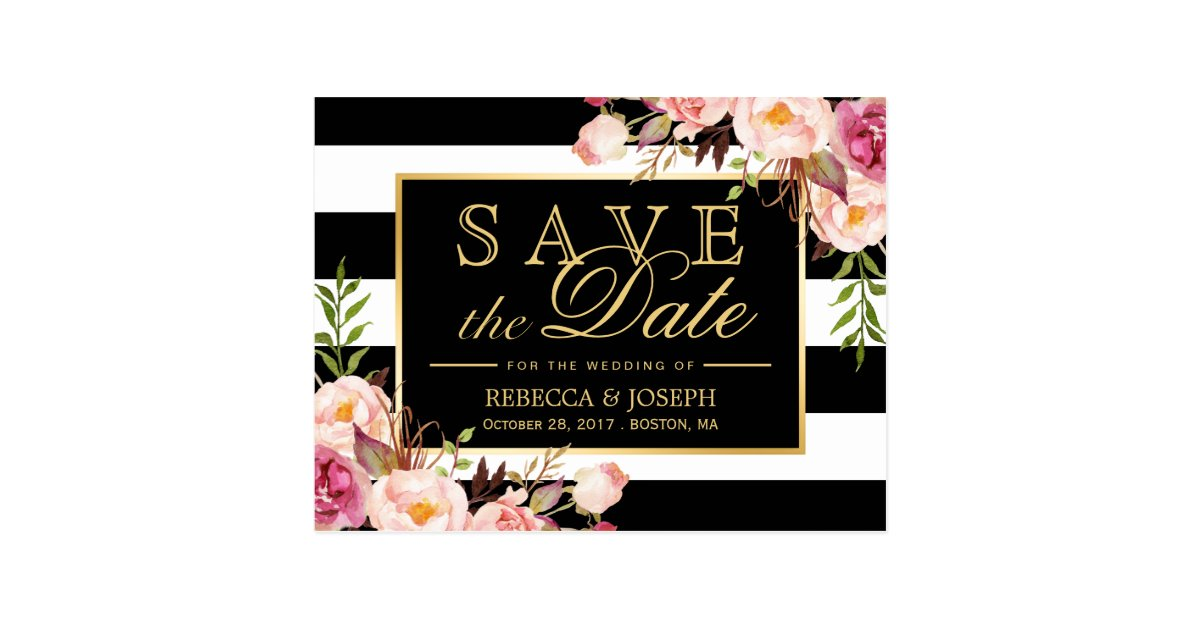 save_the_date_gold_floral_black_white_stripes_postcard r4ccf0b9f26d04b10b47bfb8ffb54e8ce_vgbaq_8byvr_630