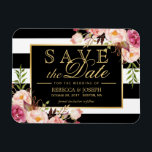"""Save the Date - Gold Floral Decor B&amp;W Stripes Magnet<br><div class=""""desc"""">================= ABOUT THIS DESIGN ================= Save the Date - Gold Floral Decor B&amp;W Stripes Magnetic Card. (1) All text style, colors, sizes can be modified to fit your needs. (2) If you need any customization or matching items, please contact me. (3) You can find matching products (e.g. Invites, RSVP card,...</div>"""